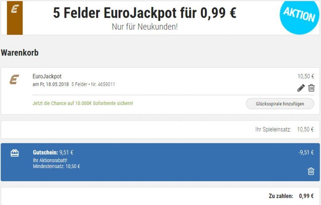 Eurojackpot Gutschein für 5 Felder