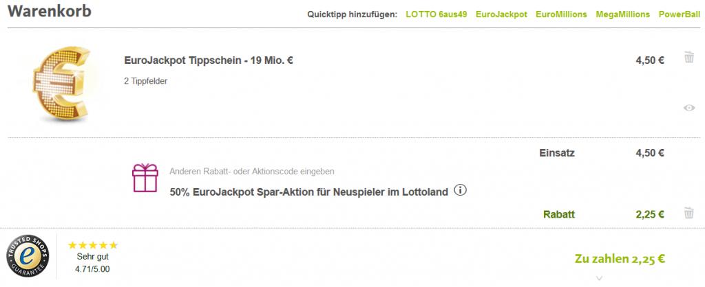 Lottoland Gutschein für 1 gratis Feld Eurojackpot