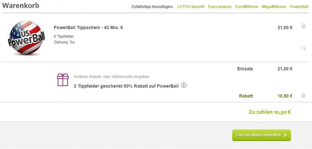 Powerball Lottoland Gutschein - 50% Rabatt